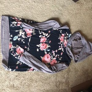 Beautiful floral and stripped hoodie